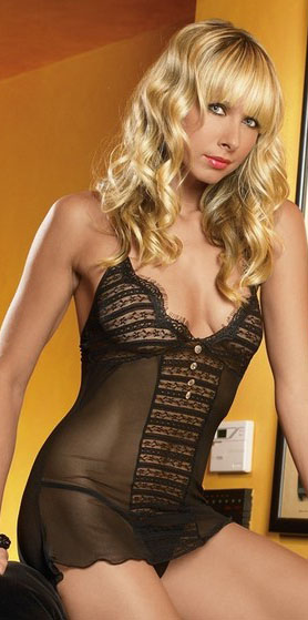 Ribbon Trim Lace Mini Dress And G-String