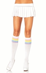 White Knee High Socks with Multi Stripe Top
