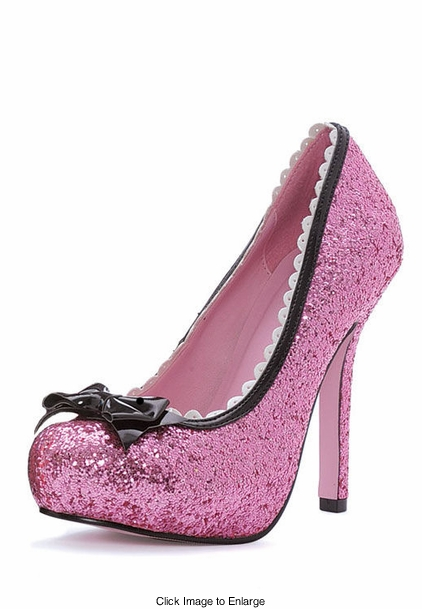 "5"" Pink Glitter Pump Shoes with Bow"