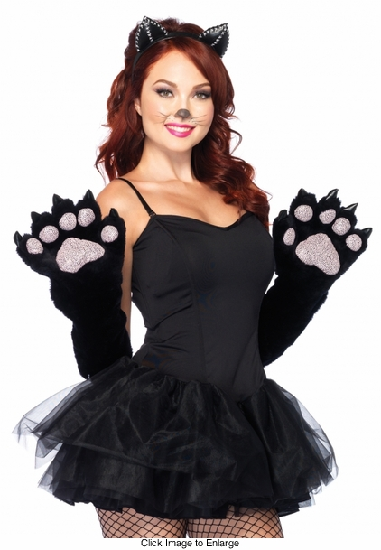 Furry Cat Elbow Gloves