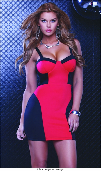 Two Tone Red/Black Bustier Dress