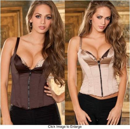 Reversible Satin and Spandex Chocolate/Brown Corset with Zip Front