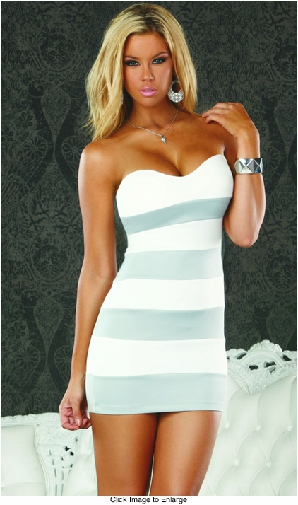 Strapless Dress with Stripes