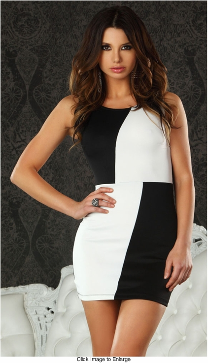 Black and White Colorblock Dress