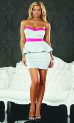 Grey and Pink Strapless Peplum Dress