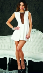 White A-line Dress with Mesh Inset and Back