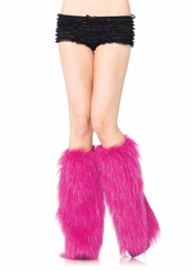 Furry Lurex Leg Warmers in Black, White or Pink