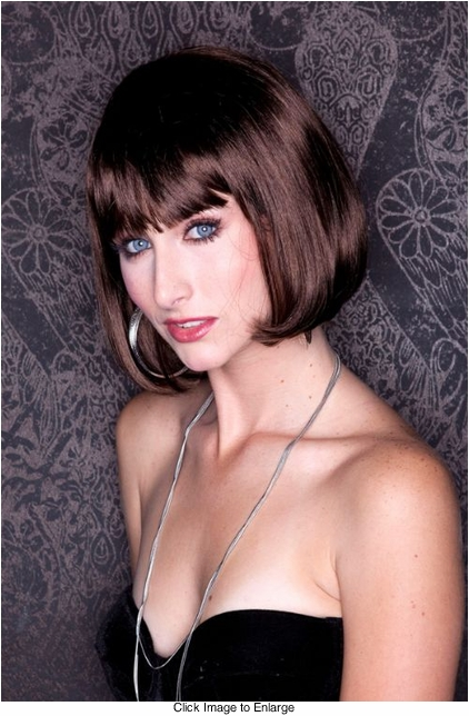 Chocolate Brown Bob Wig with Bangs