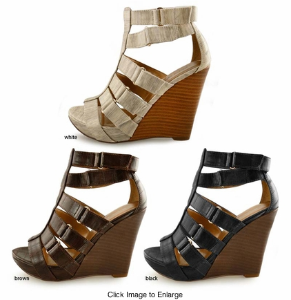 "4.5"" Wedge Shoes with Six Straps ""Gibson"" from Michael Antonio"
