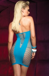 Fence Net Fishnet Seamless Mini Dress (available in Black and Turquoise)