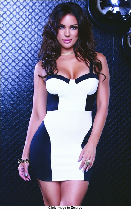 Two Tone White/Black Bustier Dress