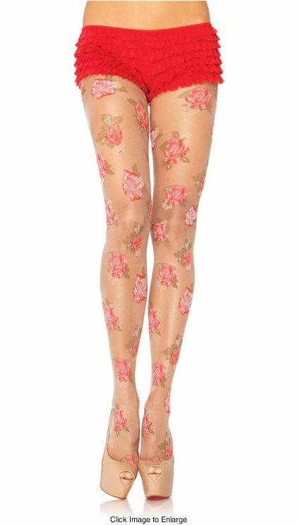 Sheer Floral Pantyhose