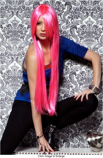 Waist Long Wig in Pink Explosion Color