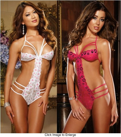 Stretch Lace Teddy Lingerie with Triple Straps