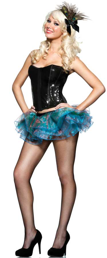 2-Piece Peacock Costume Kit with Iridescent Tutu & Hairpiece