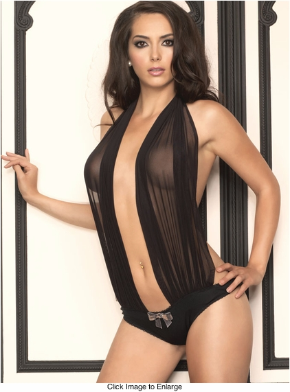 Sheer Draped Teddy with Sequin Bow