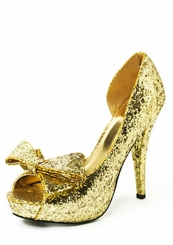 Open Side Glitter Peep Toe Pump with Bow Front