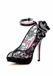 "5"" Lace Pumps with Removable Flower"