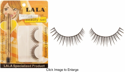 False Eeyelash Set with Glue and Black Eyeliner Pencil