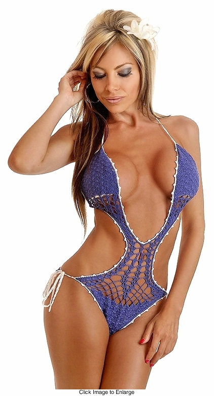 Periwinkle Blue Crochet Monokini with Deep Plunge Front & Full Lining