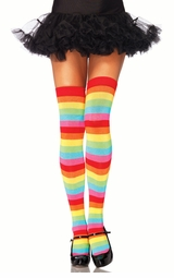 Rave Rainbow Stripe Opaque Thigh High Stockings
