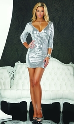 Silver Sequin Dress with Plunging Neckline