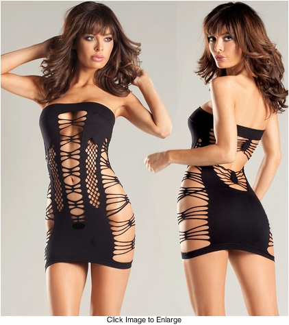 Stretch Seamless Tube Dress with Diamond Net Cutouts