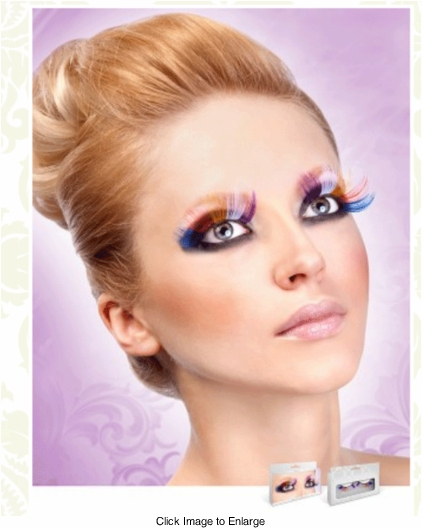Long Purple, White, Yellow, Red and Blue Lashes