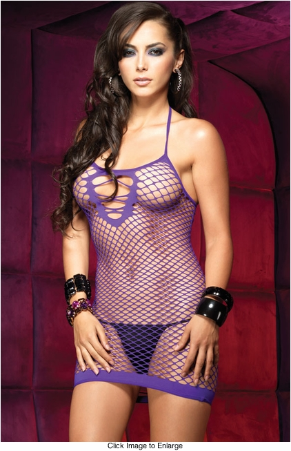 Oval Net Fishnet Mini Dress in Purple or Black