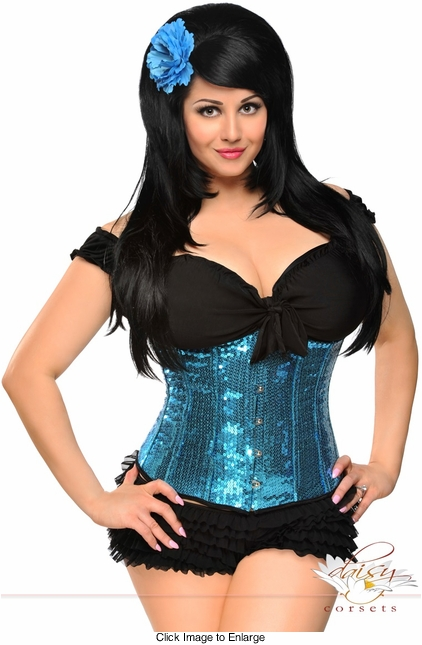 Teal Blue Sequin Waist Cincher