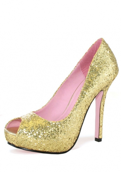 "5"" Gold Glitter Peep Toe Pumps"