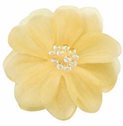 "3.5"" Flower Hair Clip w/ Chiffon Overlay & Sequin Center"