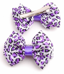 "3"" Leopard Print Bow Hair Clips Pair (available in 6 colors)"