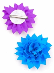"4"" Ribbon Flower Hair Clip with Zig-Zag Edge (available in 8 colors)"