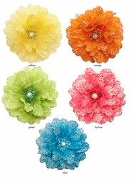 "5"" Flower Hair Clip with Crystal Center"
