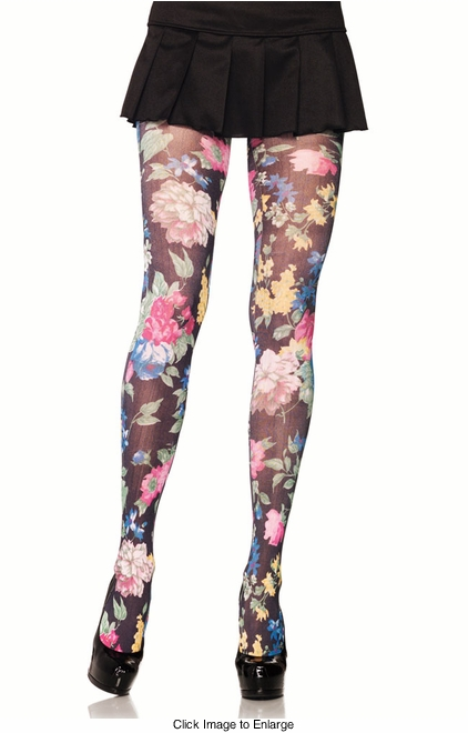 Opaque Floral Print Pantyhose