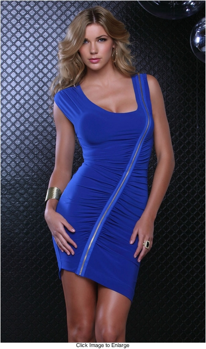 Blue Dress With Zipper Detail
