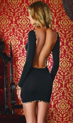 Black Dress with Leopard Trim and Open Back