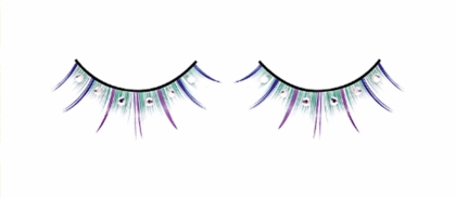 Green Lashes with Purple and Blue Wisps and Crystals