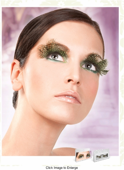 False Eyelashes -Green and Black Polka Dot Lashes