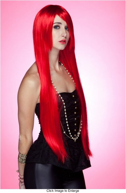 Waist Long Wig in Stunning Firecracker Red