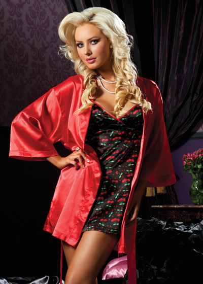 Cherry Satin Slip and Matching Robe