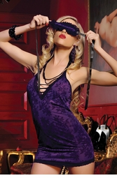 Halter Chemise Mini Dress with Mask and Thong