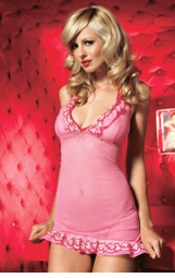 Polka Dot Mini Dress with Embroidered Hearts and G-string
