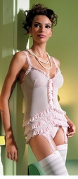 Mesh Ruffled Cami-Garter And G-String Set