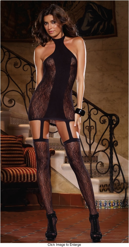 Floral Lace Halter Garter Dress with Stockings