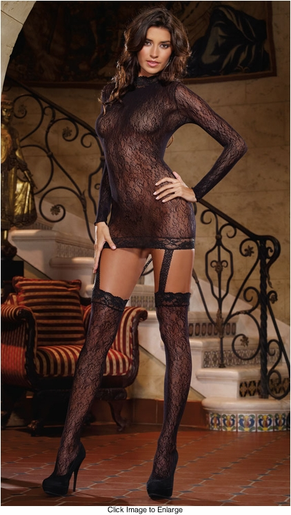 Long Sleeve Turtleneck Garter Dress with Stockings