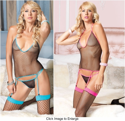 Fishnet Cami with Attached Garters, Stockings and G-string
