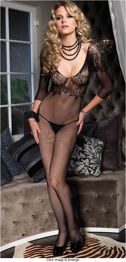 Long Sleeve Bodystocking with Floral Bodice