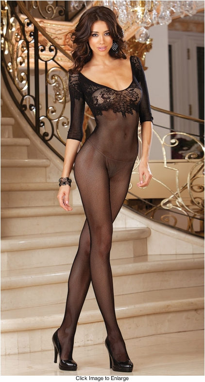 Fishnet Bodystocking with Lace Neckline and 3/4 Sleeves